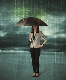 Business woman standing with umbrella data protection concept Royalty Free Stock Photos