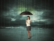 Business woman standing with umbrella data protection concept Royalty Free Stock Images