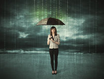 Business woman standing with umbrella data protection concept Stock Photos