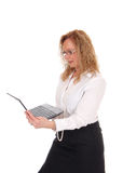 Business woman standing and working with laptop. Royalty Free Stock Photography