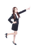Business woman stands pointing something Royalty Free Stock Photography