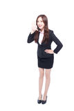 Business woman stands shouting Stock Photos