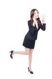 Business woman stands shouting Royalty Free Stock Photography