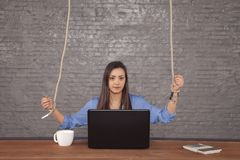 Business woman steered from above stock photography