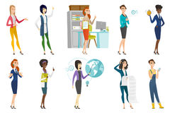 Business woman, stewardess, doctor profession set. Stock Photos