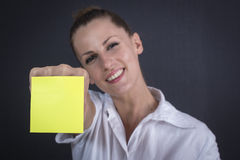 Business woman with sticker Stock Image