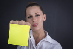 Business woman with sticker Stock Photo