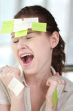 Business woman with stickers Royalty Free Stock Images
