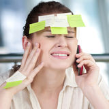 Business woman with stickers Stock Image