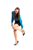 Business woman in stiletto holding her ankle Royalty Free Stock Photo