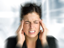 Business Woman Stress And Headache Royalty Free Stock Images