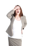 Business woman in stress holding his head isolated Stock Photos