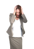 Business woman in stress holding his head isolated Royalty Free Stock Images