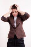 Business woman stress portrait . Stock Photos