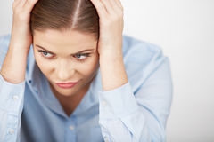 Business woman stress portrait . close up . Royalty Free Stock Images