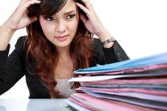 Business woman stressed at work. Stock Photos