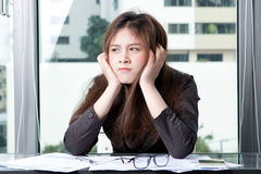 Business woman are stressed. With work Royalty Free Stock Photos