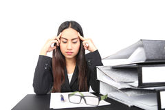 Business woman stressed at work Stock Images
