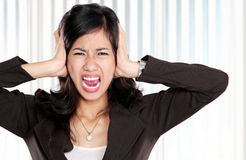 Business woman stressed at work. Royalty Free Stock Image