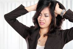 Business woman stressed at work. Stock Image