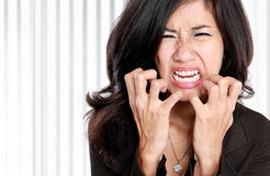 Business woman stressed at work. Royalty Free Stock Photo
