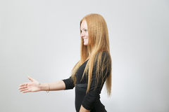Business woman stretches out his hand for a handshake Stock Photo
