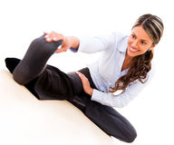 Business woman stretching Royalty Free Stock Photography