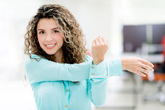 Business woman stretching Stock Image