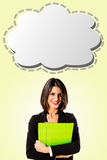 Business woman with strip cartoon Royalty Free Stock Images