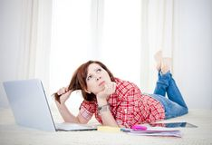 Business woman, student lying down looking up thinking Stock Photos
