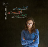 Business woman, student or teacher glasses on nose Formula 1 racing car fan on blackboard background Stock Image
