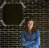 Business woman, student or teacher glasses on nose with glasses on brick wall notice board Stock Photography