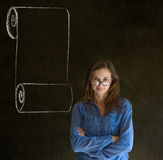 Woman, student or teacher with menu scroll checkli Royalty Free Stock Image