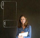 Woman, student or teacher with menu scroll checkli Stock Photos