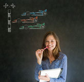 Business woman, student or teacher pen and note pad Formula 1 racing car fan on blackboard background Royalty Free Stock Photos