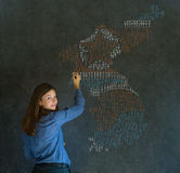 Woman with missile war map thinking about North or South Korea conflict Stock Photo