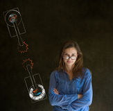 Woman with North and South Korea conflict war tanks on blackboard background Stock Photography