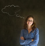 Woman with thought thinking chalk cloud arms folded with glasses Stock Images