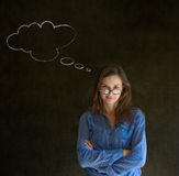 Woman with thought thinking chalk cloud glasses on nose Royalty Free Stock Photography