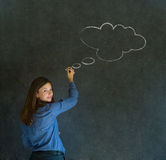 Woman with thought thinking chalk cloud writing on blackboard Royalty Free Stock Images