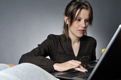 Business woman studying Royalty Free Stock Photography