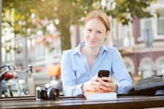 Business Woman Studying Photography Stock Image