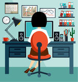 Business Woman in the style flat design Royalty Free Stock Photography