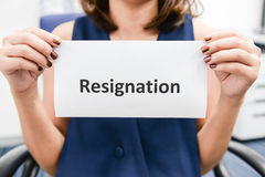 Business woman submitted the Resignation letter Royalty Free Stock Photo