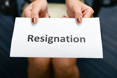 Business woman submitted Resignation letter Stock Images
