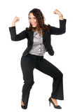 Business woman success. Beautiful business woman celebrate her success showing strength Stock Photos