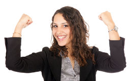 Business woman success. Beautiful young business woman raising arms isolated on white Royalty Free Stock Photos
