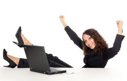 Business woman success. Happy young business woman with laptop woman celebrate success Royalty Free Stock Photos
