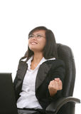 Business Woman Success. A business woman expressing happiness at a success Royalty Free Stock Photos