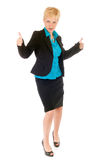 Business woman success. Blond business woman celebrate her success Stock Images